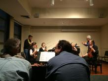 With Arditti String Quartet at masterclass, Boston University CFA, 2013, USA.