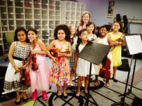 With students of El Sistema Somerville, USA, 2016.