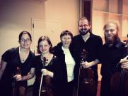 """With composer Joan Tower after performing her string quartet """"Incandescent"""" , 2013, USA."""