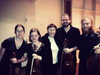 "With composer Joan Tower after performing her string quartet ""Incandescent"" , 2013, USA."
