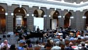 Aija Reke with AKOM Ensemble at performance at Korenbeurs Schiedam, the Netherlands, 2013.