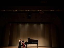 With pianist Anna Arazi at BU Tsai Performance Center, Boston, USA, 2016.