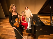 With pianist Anna Arazi and composer Ketty Nez at BU Tsai Performance Center after performing her compositions.