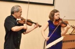 With Lynn Chang, performing Bartok Duos, Vilnius, Lithuania, 2015.