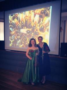 With flutist Agita Arista, Boston, USA, 2016.