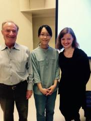 """After giving a lecture recital at Boston University Beethoven Research Center, """"Distinguished Lecture Series"""", with prof. J. Yudkin and pianist S. Ho. Boston, USA, 2016."""
