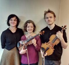 Boston, USA, 2014. With pianist Sintija Stūre and violinist Svens Skrīveris.